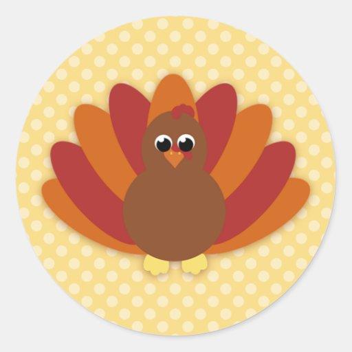 Cute Cartoon Thanksgiving Turkey Stickers