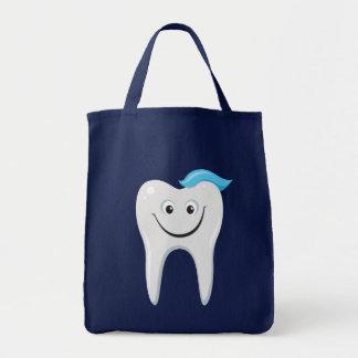 Cute cartoon tooth grocery tote bag
