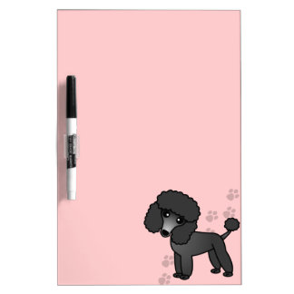 Cute Cartoon Toy / Miniature Black Poodle Dry Erase Whiteboard