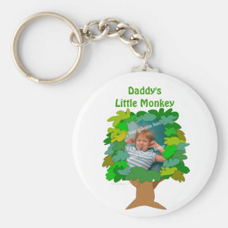 Cute Cartoon Tree Little Monkey Custom Photo Basic Round Button Key Ring