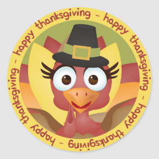 Cute Cartoon Turkey happy thanksgiving Classic Round Sticker