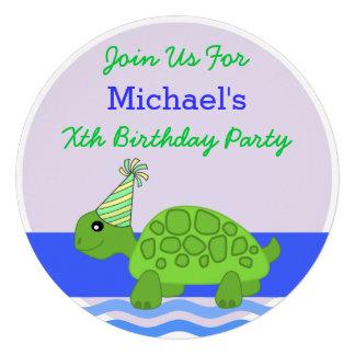 Cute Cartoon Turtle Blue Green Birthday Party Announcements