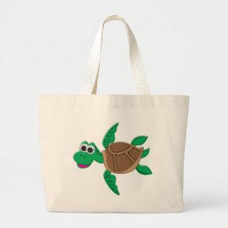 Cute Cartoon Turtle Large Tote Bag