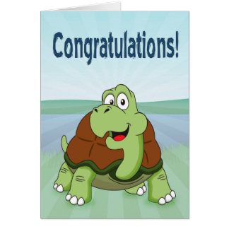 Cute Cartoon Turtle Smiling for Congratulations Greeting Card