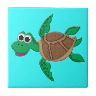 Cute Cartoon Turtle Tile