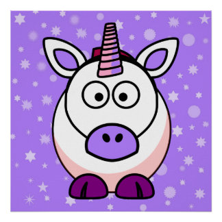 Cute Cartoon Unicorn With Purple Background Print