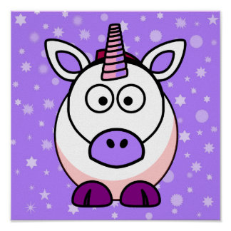 Cute Cartoon Unicorn With Purple Background Poster
