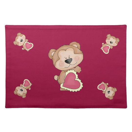 Cute Cartoon Valentine Bear Show Your Love Placemat