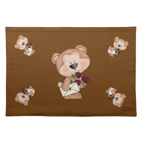 Cute Cartoon Valentine Bear Show Your Love Placemats