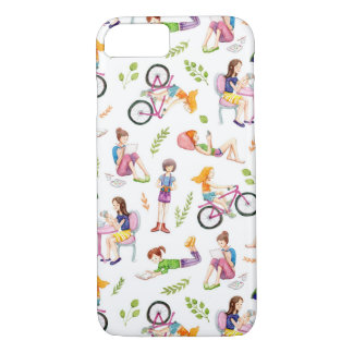 Cute Cartoon Watercolor Girls Pattern iPhone 8/7 Case