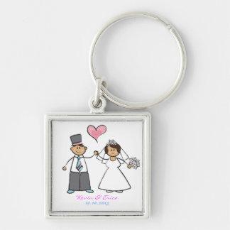 Cute Cartoon Wedding Couple Bride Groom Love Heart Silver-Colored Square Key Ring
