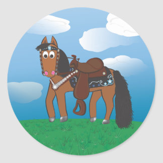 Cute Cartoon Western Horse Round Sticker