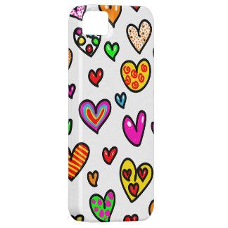 Cute Cartoon Whimsical Multi Love Heart Pattern iPhone 5 Cases