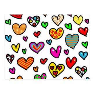 Cute Cartoon Whimsical Multi Love Heart Pattern Postcards