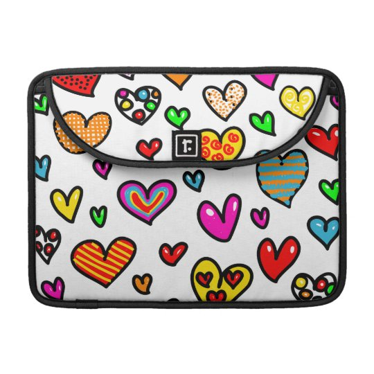 Cute Cartoon Whimsical Multi Love Heart Pattern Sleeves For MacBooks