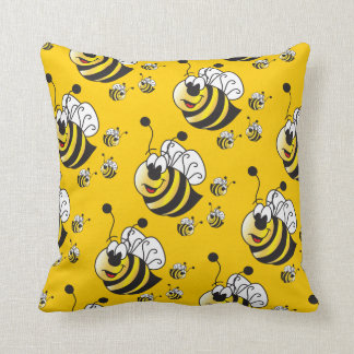 Cute Cartoon Yellow Bumble Bee Throw Cushions