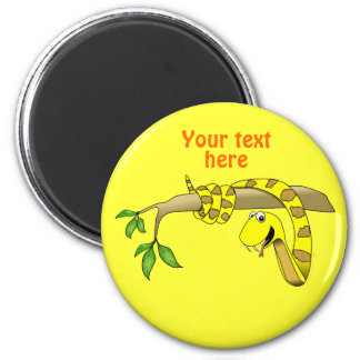 Cute Cartoon Yellow Snake in a Tree Reptile 6 Cm Round Magnet