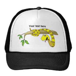 Cute Cartoon Yellow Snake in a Tree Reptile Trucker Hat