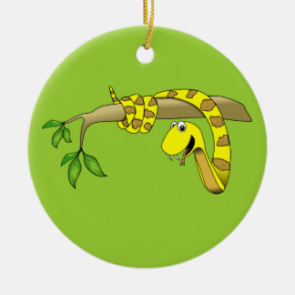 Cute Cartoon Yellow Snake in a Tree Reptile Christmas Ornament