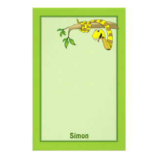 Cute Cartoon Yellow Snake in a Tree Reptile Stationery
