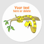 Cute Cartoon Yellow Snake in a Tree Reptile Round Sticker