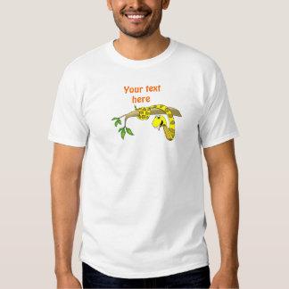 Cute Cartoon Yellow Snake in a Tree Reptile T Shirt