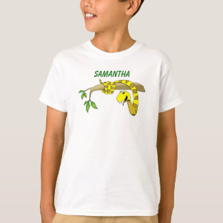 Cute Cartoon Yellow Snake in a Tree Reptile T-shirts