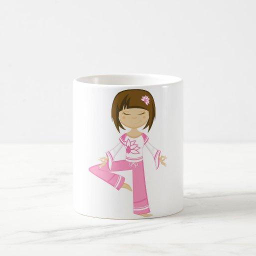Cute Cartoon Yoga Girl Mug
