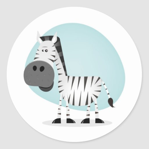 Cute Cartoon Zebra Round Stickers