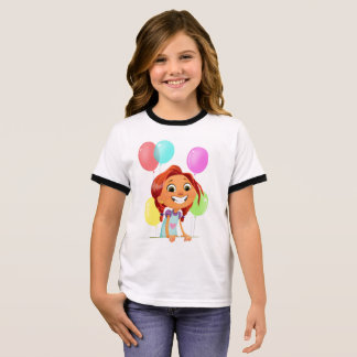 Cute cartoony girl with balloons smiling ringer T-Shirt