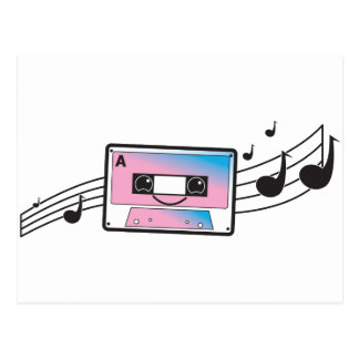 Cute cassette tape postcard