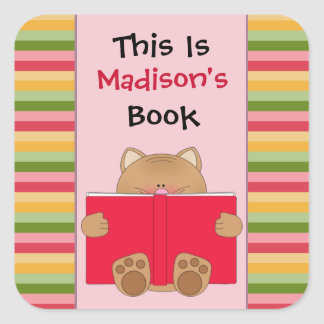 Cute Cat And Book Children's Bookplate Square Sticker