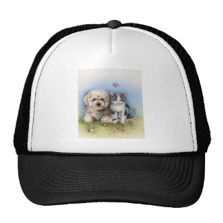 Cute cat and dog trucker hats