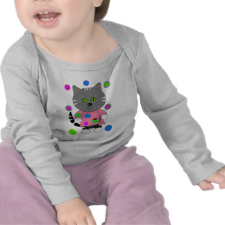 Cute Cat and Ladybug T-shirt with Polkadots