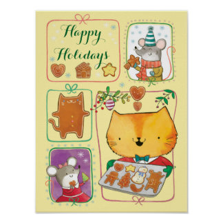 Cute Cat and Mice Merry Christmas Poster
