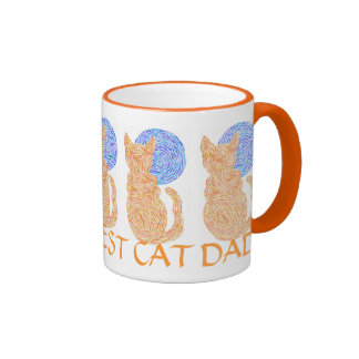 Cute Cat And Moon Art World's Best Cat Dad Mug Cup