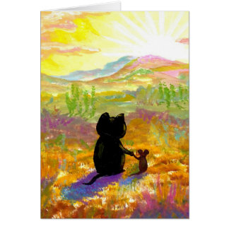 Cute Cat and Mouse Desert Painting Creationarts Card