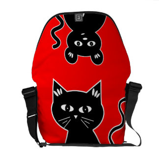 Cute Cat and Mouse Red and Black Commuter Bag