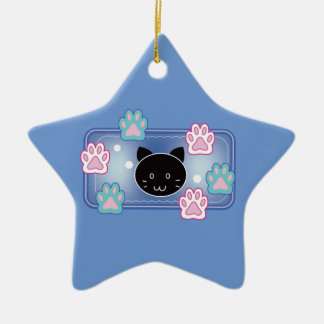 Cute cat and paw pads (blue) ceramic star decoration