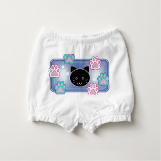 Cute cat and paw pads (blue) nappy cover