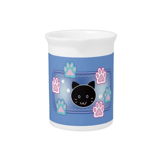 Cute cat and paw pads (blue) pitcher