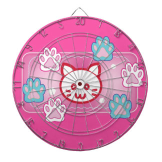 Cute cat and paw pads (pink) dartboard