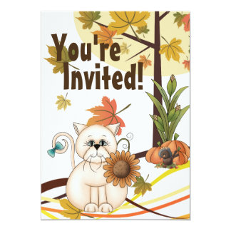 Cute Cat and Sunflower Autumn Birthday Party 13 Cm X 18 Cm Invitation Card