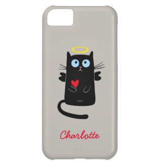 Cute Cat Angel with Heart Customized Name iPhone 5C Case