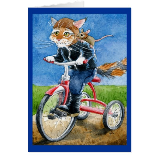 Cute cat bike gang greeting or blank card