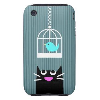 Cute Cat & Birdcage-blue Tough iPhone 3 Cases