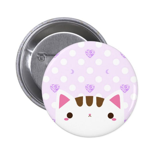 Cute Cat Button with Lilac Hearts and Moons