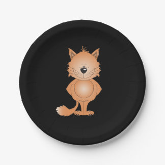 Cute Cat Cartoon Paper Plate