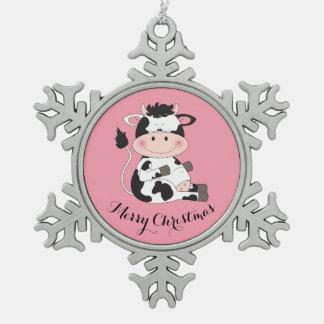 Cute Cat Cartoon Snowflake Pewter Christmas Ornament