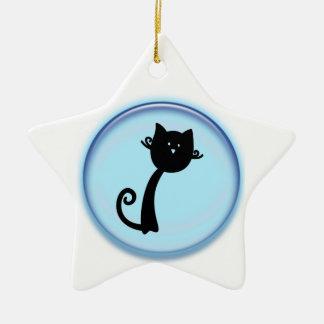 Cute Cat Cartoon Star Ornament